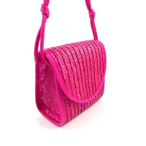 Vintage neon pink waxed straw mini box bag